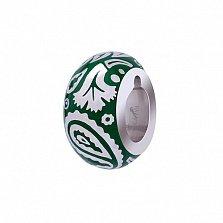 Серебряная бусина с зеленой эмалью Акварель