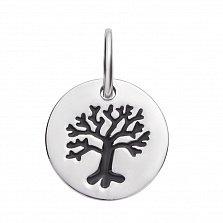 Серебряный кулон Дерево с черной эмалью