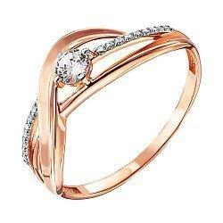 Кольцо из красного золота с фианитами и родированием 000138374