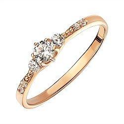 Кольцо из красного золота с цирконием 000141374