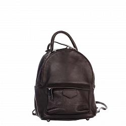 Кожаный рюкзак Genuine Leather 8002 коричневого цвета с накладным карманом на молнии
