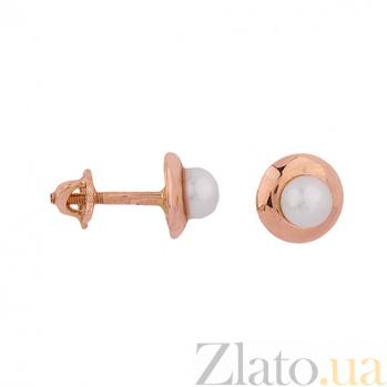 Золотые серьги-пуссеты с жемчугом Кларити ONX--с02599