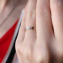 Золотое кольцо Ювента в комбинированом цвете с бриллиантом