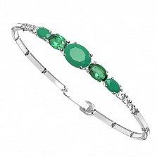 Серебряный браслет Ирида с зеленым агатом, зеленым кварцем и фианитами
