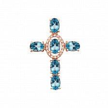 Декоративный крестик из красного золота с голубыми топазами и фианитами 000131531