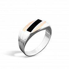 Серебряный перстень-печатка Маэстро с золотыми накладками, черной эмалью и родием