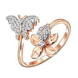 Кольцо из красного золота с фианитами и родированием 000137925