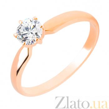 Кольцо в красном золоте Афродита с бриллиантом 000079340