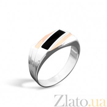Серебряный перстень-печатка Маэстро с золотыми накладками, черной эмалью и родием 000079112