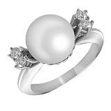 Кольцо из белого золота Галатея с жемчугом и бриллиантами