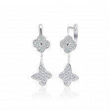 Серебряные серьги-подвески Попурри с фианитами в стиле Ван Клиф