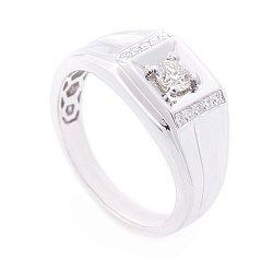Перстень в белом золоте с бриллиантами 000113181