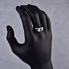 Серебряный перстень-печатка Моцарт с квадратом из черной эмали и узорными дорожками фианитов