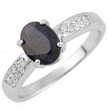 Серебряное кольцо Памела с сапфиром и фианитами
