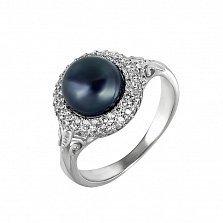 Серебряное кольцо Прованс с черным жемчугом и белыми фианитами