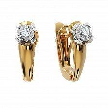 Серьги в комбинированном золоте Счастливое мгновение с бриллиантами и насечкой
