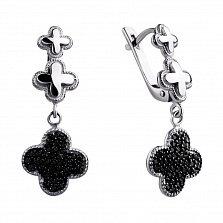 Серебряные серьги-подвески Корри с цветочками клевера и черными фианитами в стиле Ван Клиф