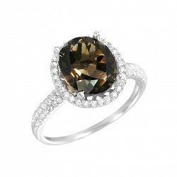 Серебряное кольцо Ванда с раухтопазом и фианитами