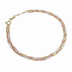 Серебряный браслет Луанда с красной и желтой позолотой, 5 мм 000072121