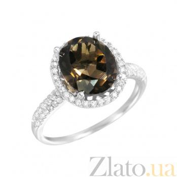 Серебряное кольцо Ванда с раухтопазом и фианитами 000081555