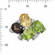 Серебряное кольцо Ивонна с раухтопазом, цитрином, хризолитом, корундом и фианитами
