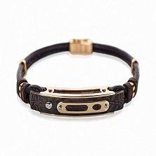 Кожаный браслет Оскар с эбеновым деревом, золотыми накладками и бриллиантом