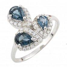 Серебряное кольцо Фелиция с топазом лондон и фианитами