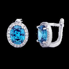 Серебряные серьги с голубыми фианитами Евгения