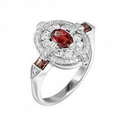 Кольцо из белого золота с бриллиантами и рубинами 000080928