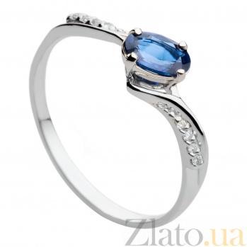 Золотое кольцо с сапфиром и бриллиантами Тамара 000030346