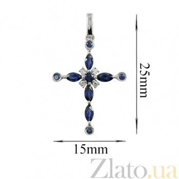 Золотой крестик с сапфирами и бриллиантами Эталон 000026738