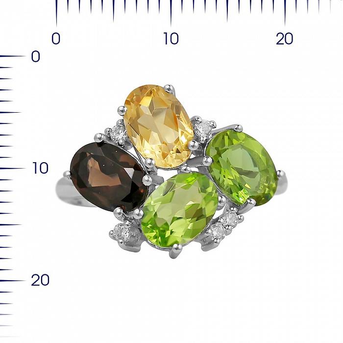 Серебряное кольцо Ивонна с раухтопазом, цитрином, хризолитом, корундом и фианитами 000081602