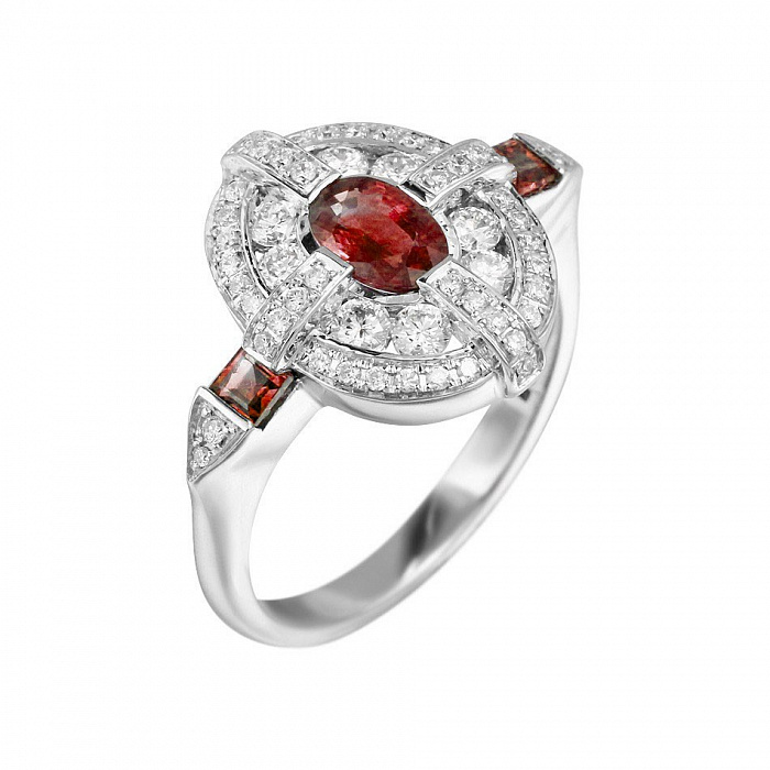 Кольцо из белого золота Магдала с бриллиантами и рубинами 000080928