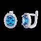 Серебряные серьги с голубыми фианитами Евгения SLX--СК2ФЛТ/410