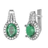 Серебряные серьги Арника с зеленым кварцем и фианитами