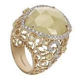 Золотое кольцо с лимонным кварцем и бриллиантами Царевна