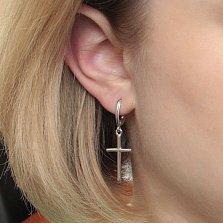 Серебряные серьги-подвески Твой выбор в форме крестиков