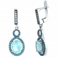 Серебряные серьги-подвески  Роксана с голубым топазом и фианитами
