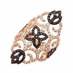 Золотое кольцо на фалангу Ажур в комбинированном цвете с черными и белыми фианитами