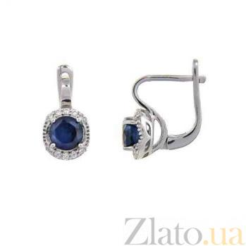 Серебряные серьги с сапфиром и фианитами Изабелла AQA-E01294S
