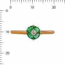Кольцо из красного золота Мэнди с изумрудами и бриллиантом