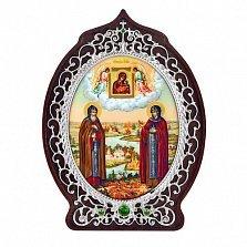 Серебряная икона на дереве Петр и Февронья