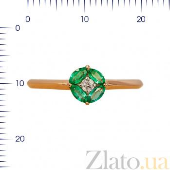 Кольцо из красного золота Мэнди с изумрудами и бриллиантом 000080918