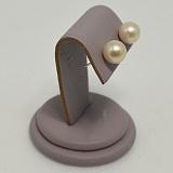Серебряные пуссеты Кларисса с шариками нежно-розовых жемчужин 9,5-10мм