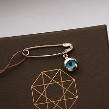 Булавка из красного золота Всевидящий глаз с подвеской-оберегом и алмазной гранью