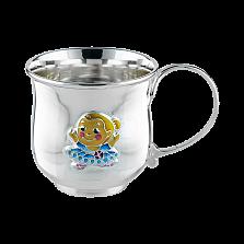 Детская чашка из серебра Балерина с цветной эмалью