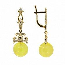 Золотые серьги-подвески Мириам с янтарем и бриллиантами