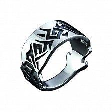 Серебряное черненное кольцо Абстракция с узорами на шинке в байкерском стиле