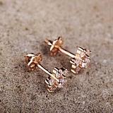 Золотые серьги-пуссеты с фианитами Цветочки