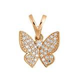 Подвес в красном золоте Парящая бабочка с фианитами